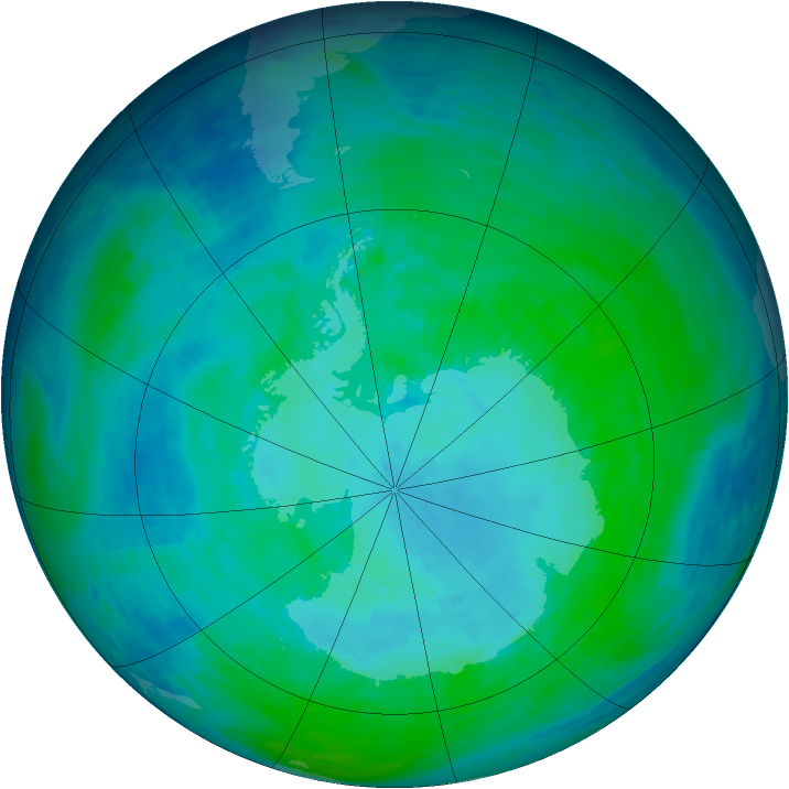 Antarctic ozone map for 08 January 1994